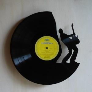 Disque vinyle d coup d coration vintage horloge guitariste for Decoration porte disque 33t