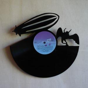 Disque vinyle d coup d coration vintage horloge ledzepplin for Decoration porte disque 33t