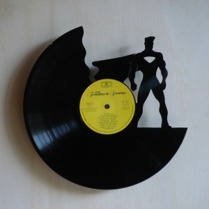 disque vinyle d coup d coration vintage horloge super h ros. Black Bedroom Furniture Sets. Home Design Ideas