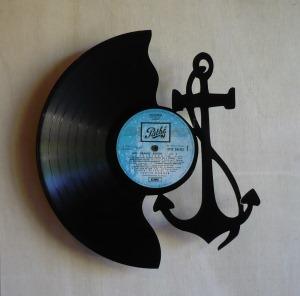 disque vinyle d coup d coration vintage horloge ancre marine. Black Bedroom Furniture Sets. Home Design Ideas