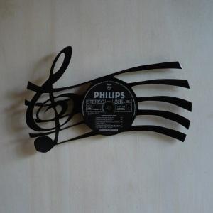 Disque vinyle d coup d coration vintage horloge cl de sol for Decoration porte disque 33t
