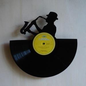 Disque vinyle d coup d coration vintage horloge saxophoniste for Decoration porte disque 33t